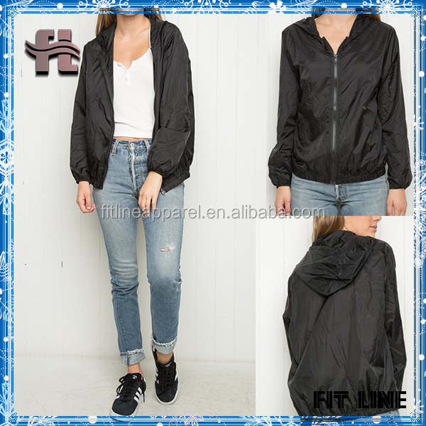 Womens 100% Polyester Insanely Soft Zip-up Windbreaker Jacket In Sheer Black With a Hoodie And Elasticized Cuffs