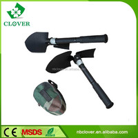 Alloy steel survival use with saw and hoe military folding shovel