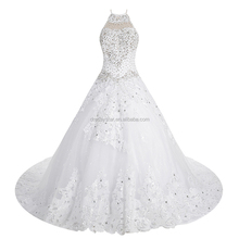Dressystar gorgeous white shiny crystal sequin rhinestone beaded Arabic wedding dress with Cathedral tain