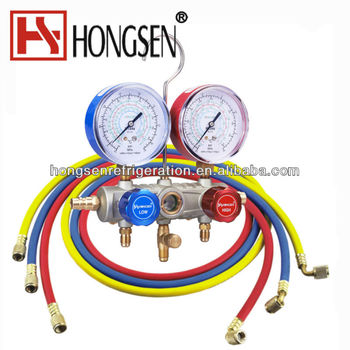 Refrigerant Aluminum Two Way Valve Manifold Gauge Set With Hose HS-S36F