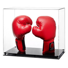 Clear Acrylic Boxing Gloves Display Case Stand Holder with Black Base