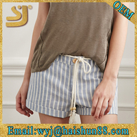 Striped Denim Cotton Panties Girl Tight Cotton Shorts,Running Shorts