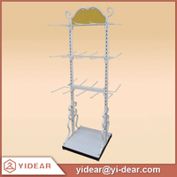 White Adjustable Metal Hanging Clothes Display Racks for Lingeries
