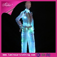 fiber optic clothing luminous ladies white formal summer coat pant suits
