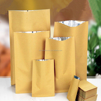 Kraft Paper Pack Bag Inner Aluminum Plating Thicken Yellow Color Kraft Pouches Top Open Hot Heat Seal Pack Foods Tea Coffee Bags