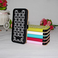 Hot!!!Hollow pu leather case flip etui en leather for iphone 5