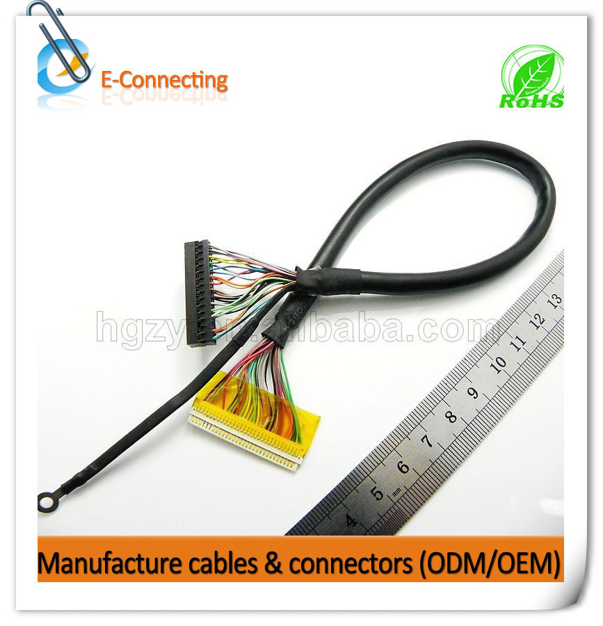 High quality Lvds cable wire harness with DF14-30P-1.25H cable connector