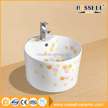 Competitive price hotel bathroom ceramic painted sink wash basin