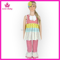 Lovebaby summer new modern western baby girl clothing sets remake red stripe ruffle shorts baby clothes wholesale LBO20160413-5