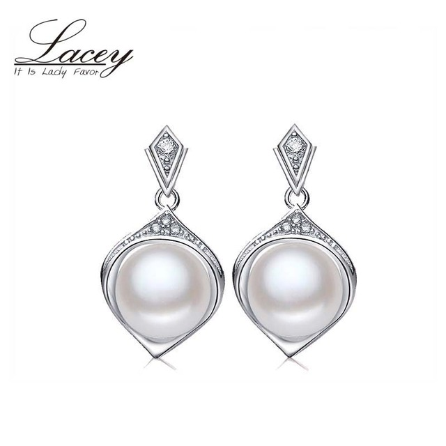 LACEY Wedding Pearl Earrings,Trendy  White Natural Pearl Earrings 925 sterling Silver Fine Jewelry Party gift Brincos perolas