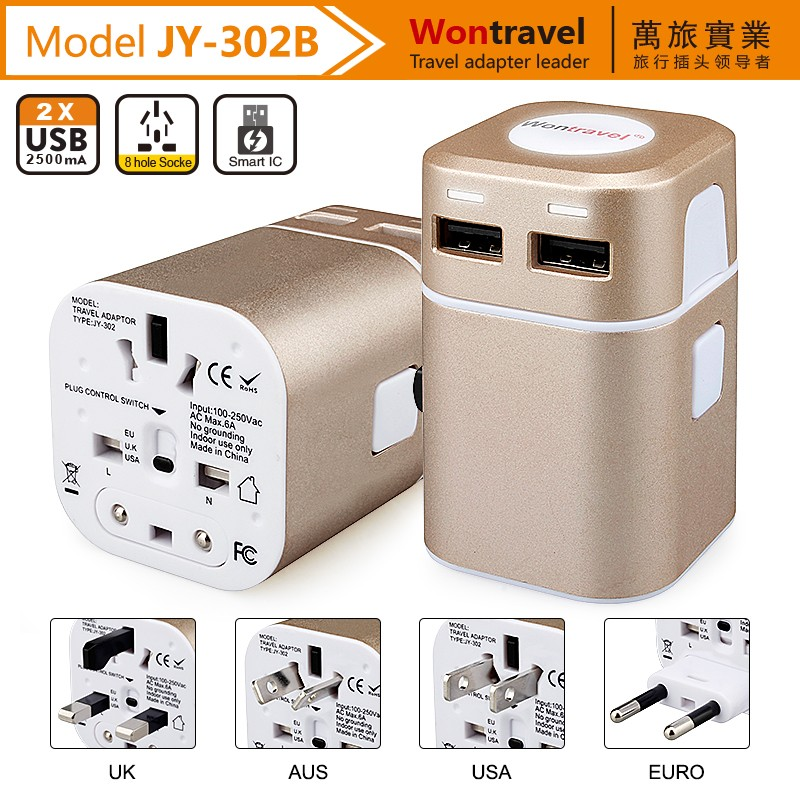 New Design Dual USB Universal Travel Adaptor with USA AU EU UK worldwide plugs universal power charger adapter supplier