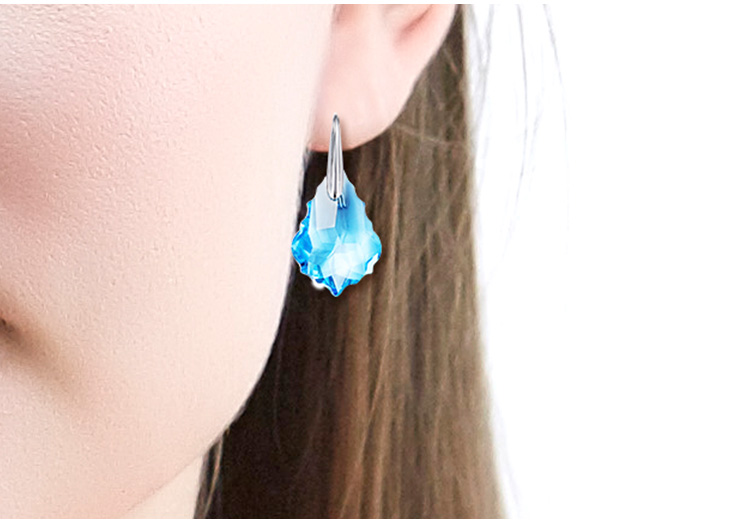 ODM OEM crystals from Swarovski jewelry manufacturer custom 925 sterling silver drop blue stone fashion earrings