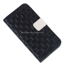 woven pattern Zipper detachable wallet leather case, knit line leather cell phone case for iPhone