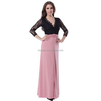 2015 New arrival ready in stock lace top v neck long dress for muslimah