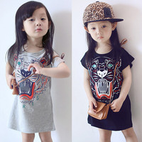 YD2728 spring 2016 girl dress cartoon printed cotton baby dress