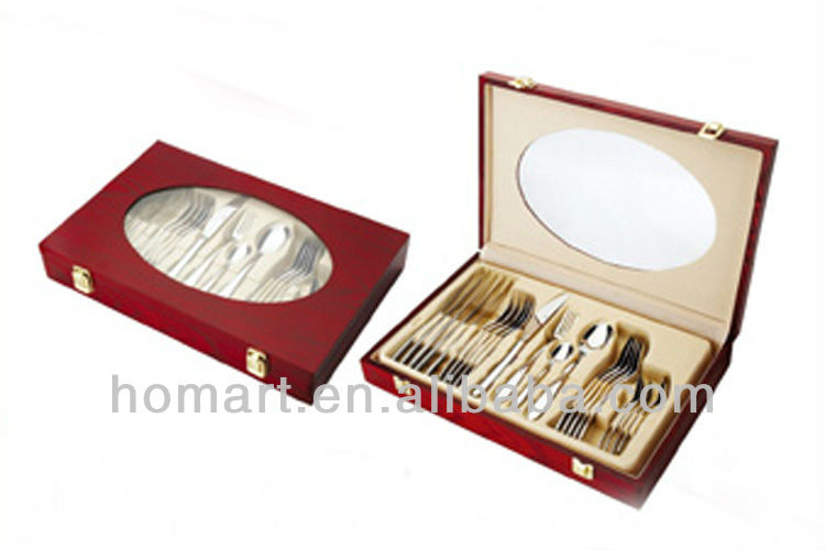 24pcs wooden case for cutlery set stainless steel