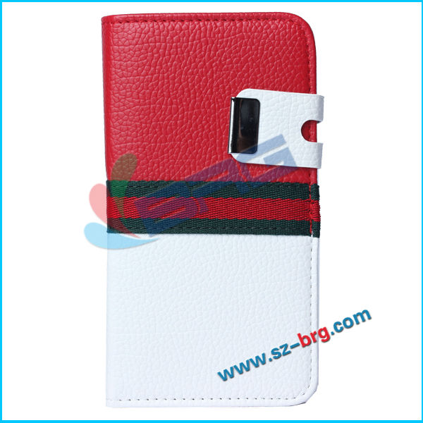 BRG-PU Protective Book Purse Leather PU Case For Samsung S5 I9600