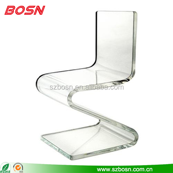Z shape modern luxury acrylic chair, transparent clear acrylic chair manufacturer
