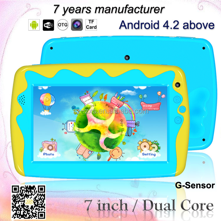 RK3026 dual core 7 inch android 1024*600 mini cartoon kids tab with children design ZXS-C5