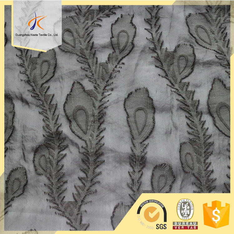 New fashion 100% polyester feather plume jacquard embroidery for dress garment chiffon fabric of OEM online wholesale