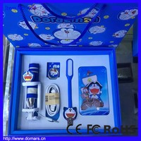 2017 3000mAh Gift Set Doraemon Power Bank with LED Lamp and Selfie Stick