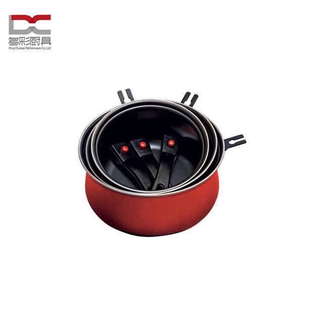 FDA LFGB Food Grade Standard Metal Carbon Steel 3Pcs Casserole Pot/ Dutch Oven With Magic Removable Handle