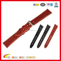 Promotional Cheap Price Stock Vintage Alligator Leather Watch Band, Fashion Leather Watch Band for Wholesale