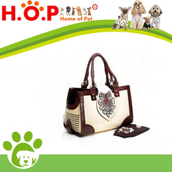 Luxury Western Leather Handcrafted Beaded DOG Bag Pet Carrier - NEW dust cover