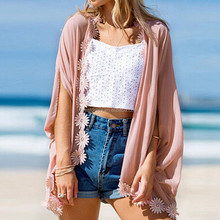 2017 Fashion Summer Women Kimono Cardigans Floral Crochet Chiffon Blouse Casual Batwing Sleeve Tops Beach Cover Up Blusas
