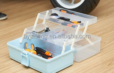 Colored Large plastic tool case.Storage Case Multi-Function Fishing Tackle Box