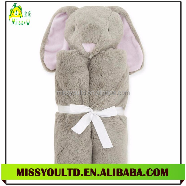 Stuffed Super Soft Blanket Animal Head Plush Baby Security Blanket