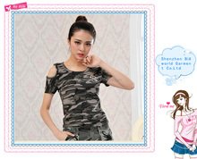 Big World factory OEM custom , design camouflage wholesale plain women's slim fit t shirt
