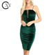 Custom Women Sexy Spaghetti Strap Emerald Velvet Pencil Party Dress