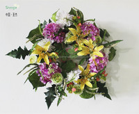 high quality hydrangea&Lily flowers beautiful wedding decoration decorative flowers & wreaths door hanging