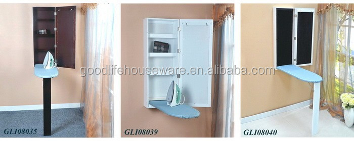 Non-electrics hideaway wall mounted folding ironing board includes hinges