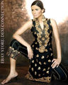 Black silk hand embroidered salwar kameez