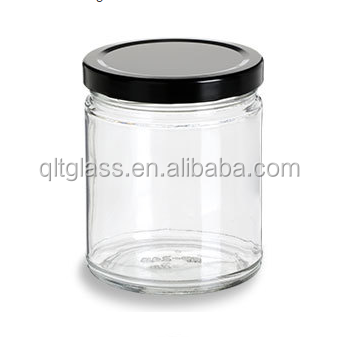 High quality 9oz straight sided glass jar with lids / hermetic food glass jar wholesale / round glass jar with screw top lid