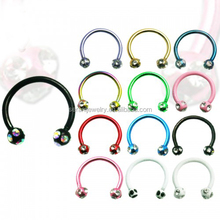 Multi CZ Gem Ball horse shoe ring stainless steel curved nose rings