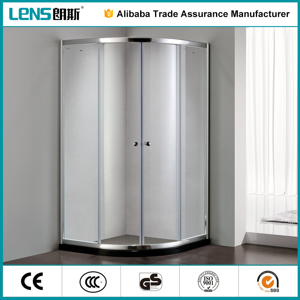 Finely finished Tempered glass sliding open style 304 stainless steel Complete frameless shower door hardware