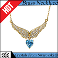 CDE crystals from Swarovski factory bulk wholesale 2017 fashion heart jewelry angel wing pendant necklace