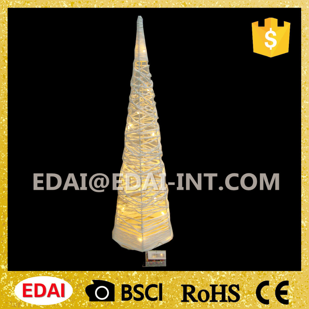 Hot selling indoor wholesale metal lighting christmas tree cover by paper line then glitter