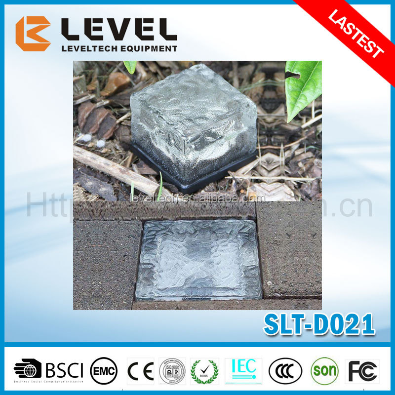 Solar LED Glass Ice Cube Brick Frosted Garden Patio Path Light White Fancy