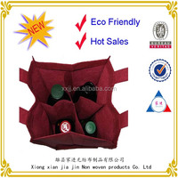 2014 new design wholesale non woven leather wine carrier