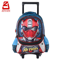Hot sale 2 glitter wheels children rolling school backpack for boys, cool 3D cartoon action robot kids school bags with trolley