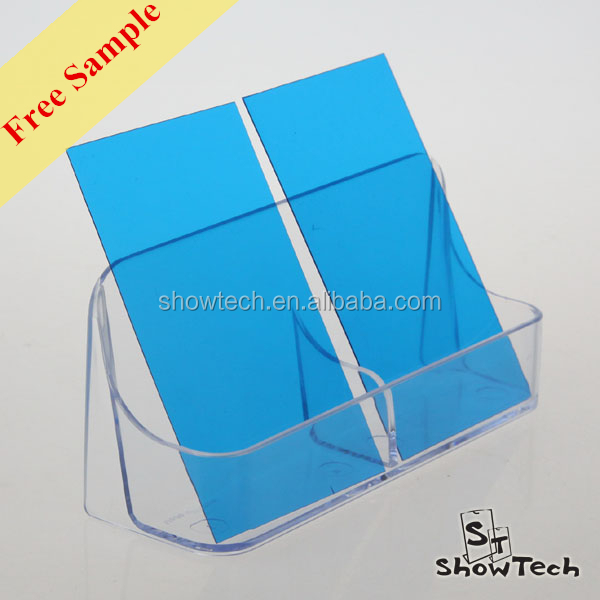Inexpensive horizontal double pockets transparent acrylic business card holder display stand name card display