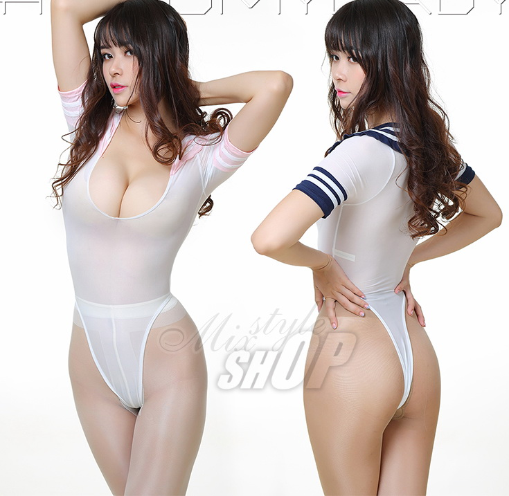 MOON BUNNY Girls' high rise body suit Student or sailor cosplay dress School girls' top Sexy bikini U-chest T-shirt Short sleeve