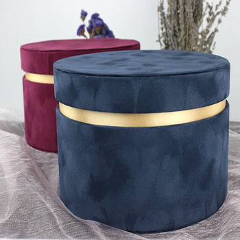 Luxurious velvet gold lined round flower gift box for cosmetics/clothing/jewelry packaging