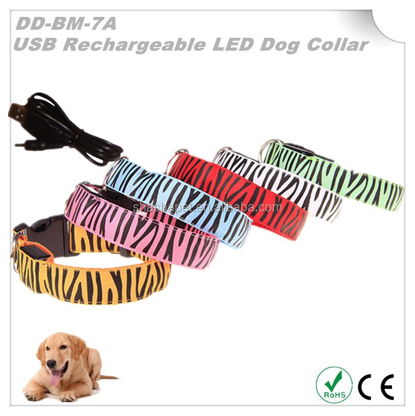 Best wholesale websites USB Rechargeable Zebra print collar for dog with Led dog collar