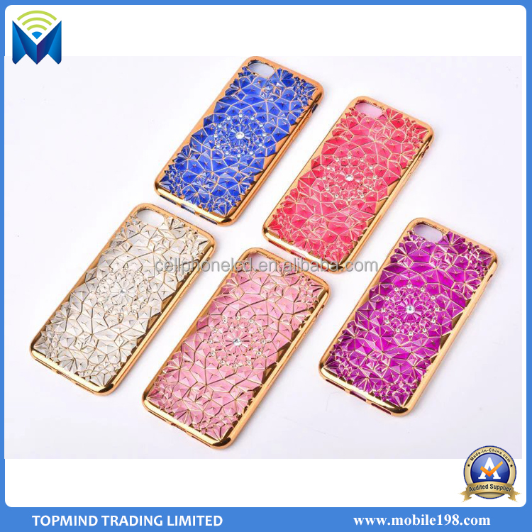 Luxury 3D Electroplating TPU Cover With Crystal Diamond TPU phone case for iPhone 6 6 Plus 7 7 Plus