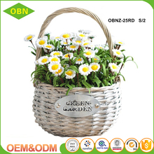 Hanging wicker woven flower garden basket with plastic lining